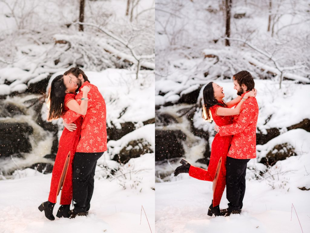 Couple hugging during a photo session in the snow