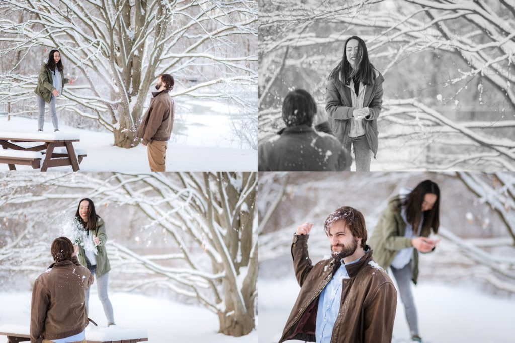 Snow ball fight during winter engagement session