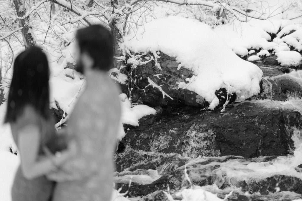 black and white engagement session photo