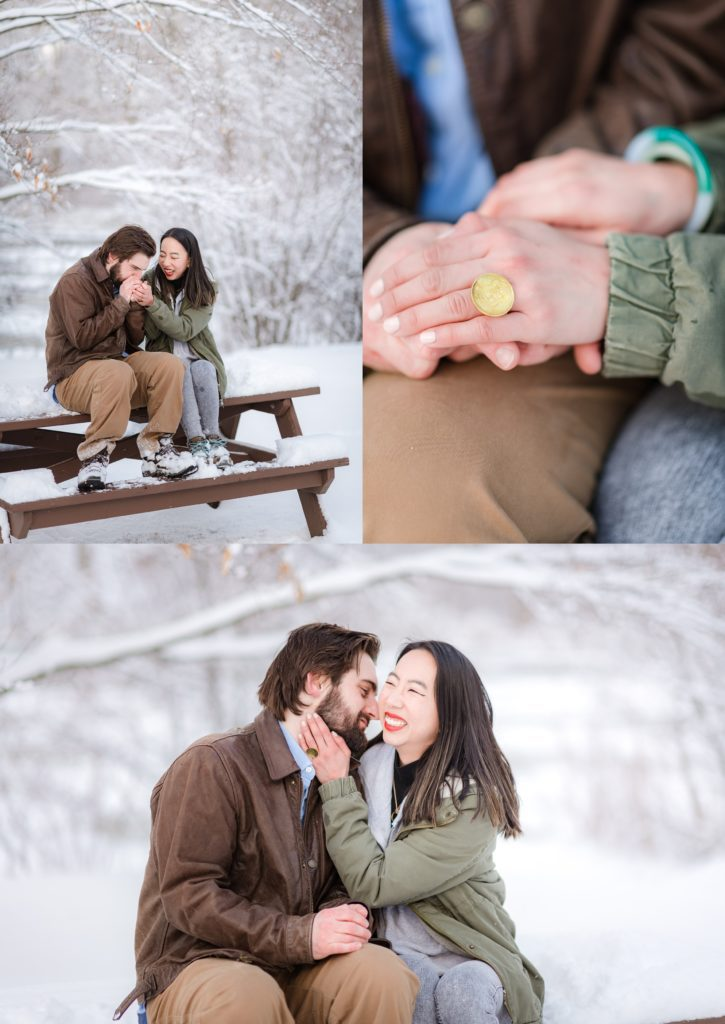 engagement ring shown during Winter snow engagement