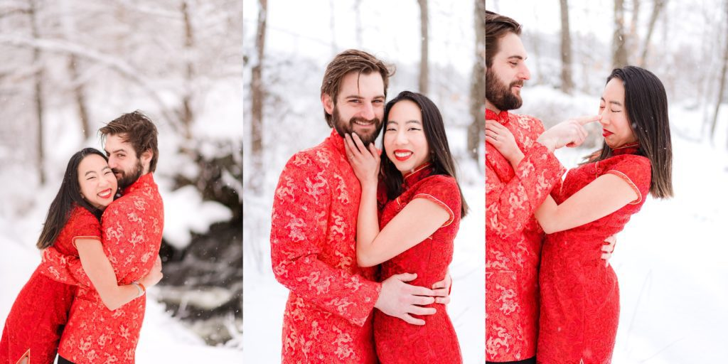 fiance and fiancee during engagement photography session