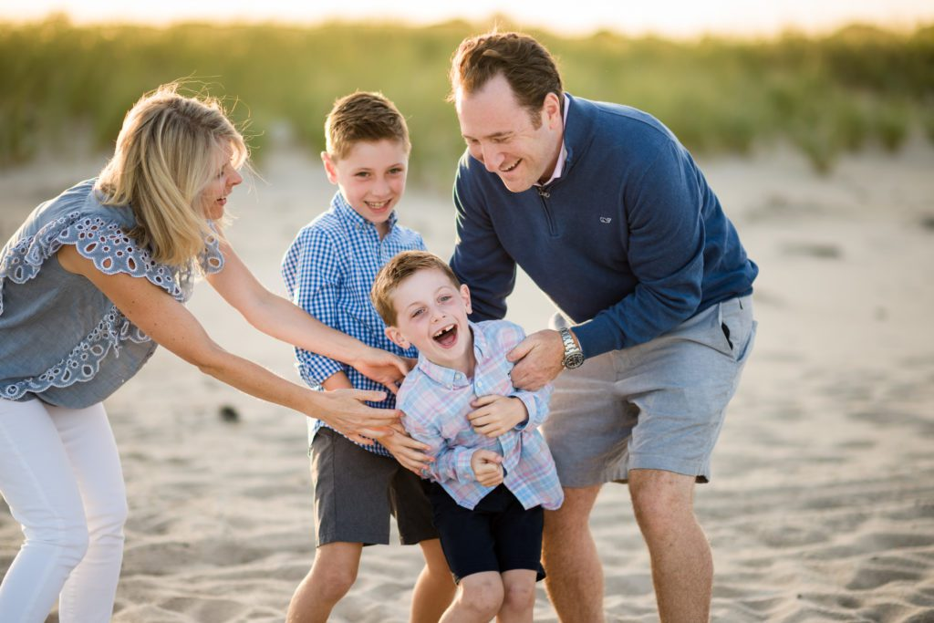 Playful family pictures on Cape Cod