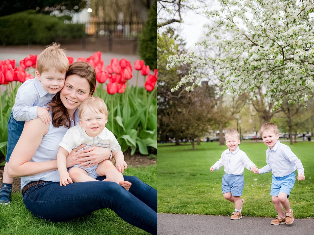 mommy and me session at the boston public gardens during tulip season. Spring outdoor photo session