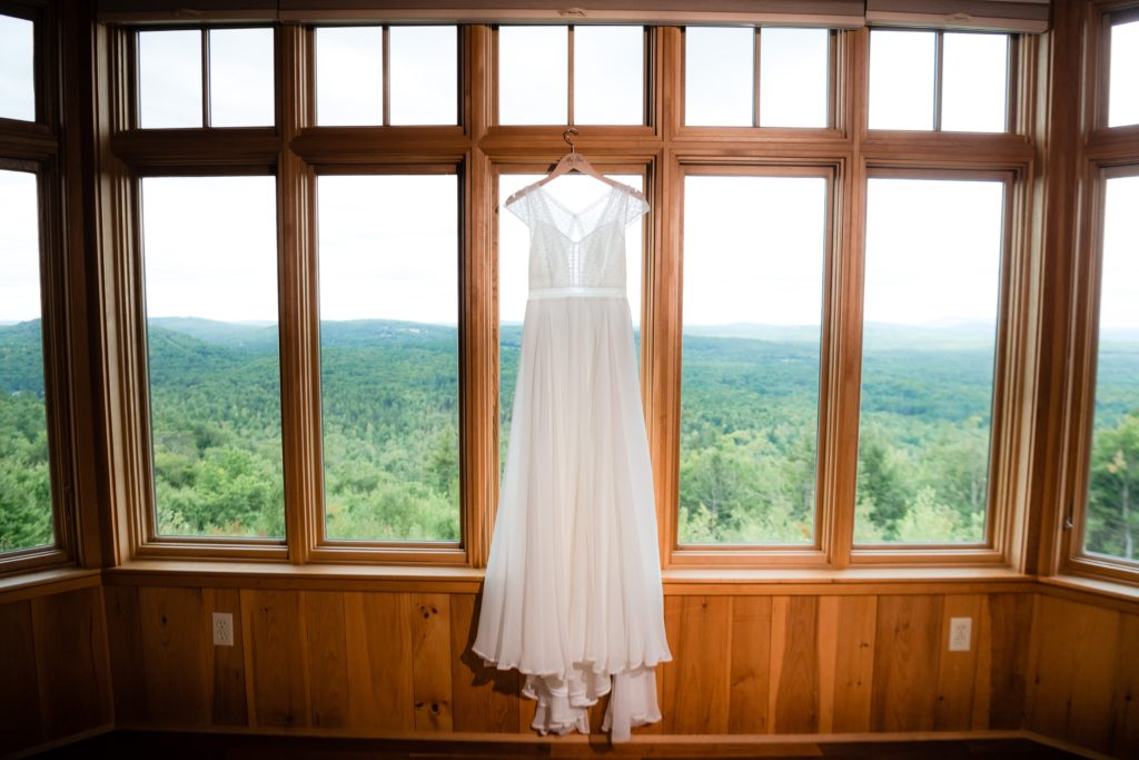 Her vintage-style wedding gown