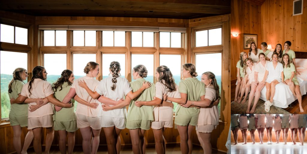 Girls getting ready in their matching robes