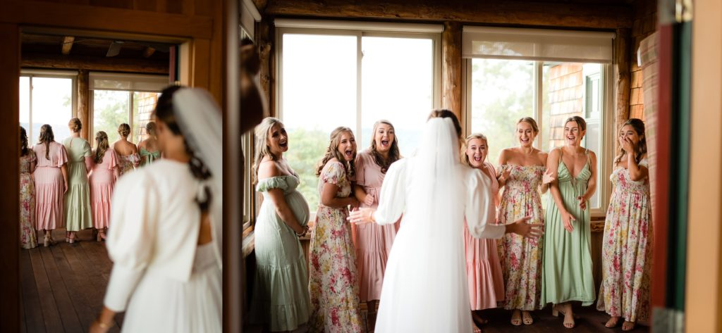 Time for a first look with the bridesmaids